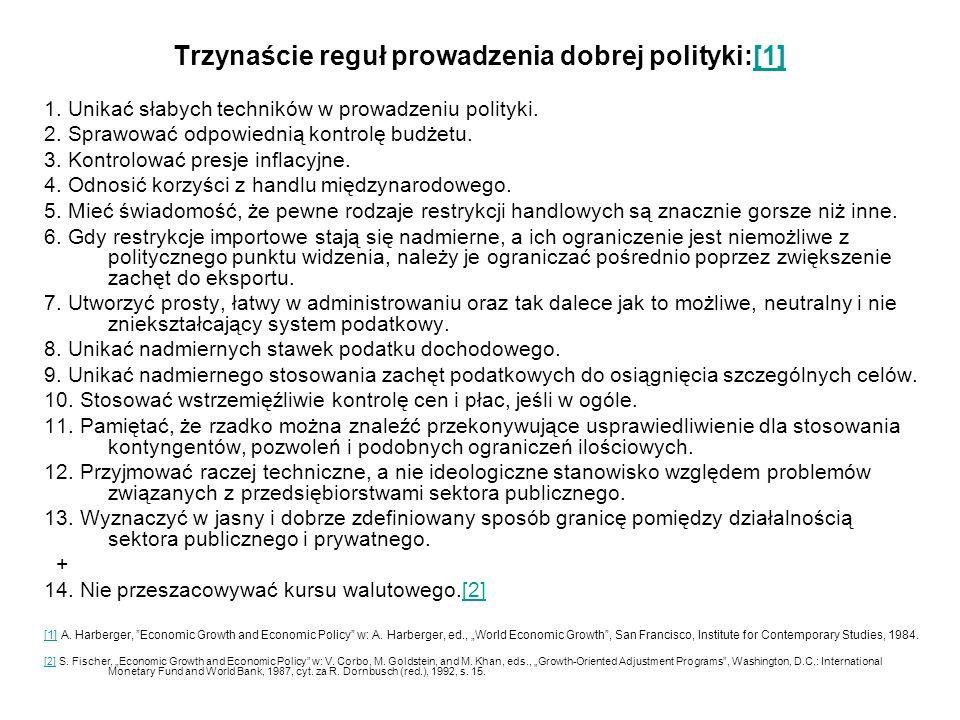 Trzynaście reguł prowadzenia dobrej polityki:[1]
